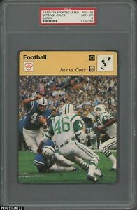 1977-79 Sportscaster Football #01-20 Jets Vs. Colts Japan PSA 8 NM-MT