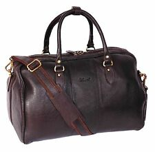 Real Leather BROWN Holdall Weekend Overnight Bag Travel Cabin Sports Gym Bag NEW