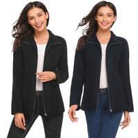 Women Casual Stand Collar Long Sleeve Solid Full Zip Fleece Jacket RCAI