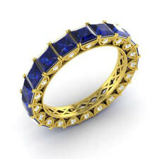 4.4 Ct Natural Sapphire Diamond Eternity Band 14K Hallmarked Solid Yellow Gold