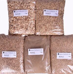 Räucherspäne Räuchermehl, Buche, 5 Typen a 1kg zum Kalt-, Warm- und Heißräuchern