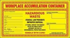 WORKPLACE ACCUMULATION CONTAINER HAZARDOUS WASTE Labels 11 x 6 inchesVinyl pk100
