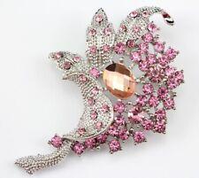 Elegant Bridal Wedding Brooch Pin Pink Elegant Austrian Rhinestone Crystal