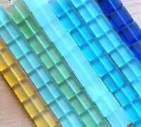2 Hole Flat Square Tile Beads 6x6mm 25 Bds Pursian Turquoise w//Picasso Finish
