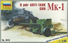 KIT ZVEZDA 1:35 BRITISH  MK-1 6 pdr  ANTI-TANK GUN    ART 3518