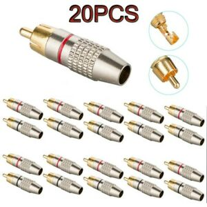 10 Pair RCA Male Plug Solder Free Gold Audio Video Adapter Phono Cable Connector