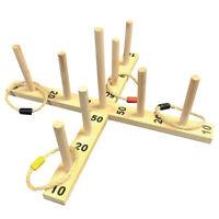 XL Ringwurfspiel Holz Ringe werfen Outdoor Ring Toss Game Wurfspiel für Draußen