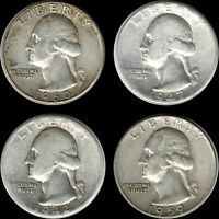 $1.00 Face Value: Four(4) 'Circulated' Washington Quarters 90% SILVER US Coins
