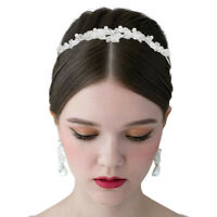 New Fashion Crystal Rhinestones Flower Tiara Pearl Headband Bridal Wedding Crown