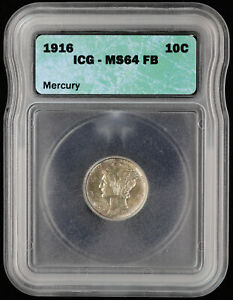 1916 Mercury Dime 10c ICG MS 64 FB | Uncirculated / UNC Full Band