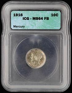 1916 Mercury Dime 10c ICG MS 64 FB   Uncirculated / UNC Full Band