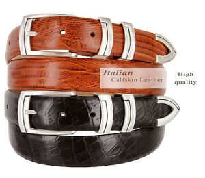 "Harbor Men' Belts Italian Calfskin Leather Designer Dress Golf Belt 1-1/8"" Wide"