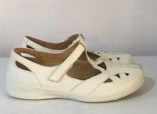 HOTTER NUTMEG Off White Leather Comfort Flat Mary Jane Shoes ~UK 9 EXF Wide~