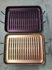 "Cooks Essentials Aluminum 16.25"" X 12.25"" Roasting Pans With Slots"