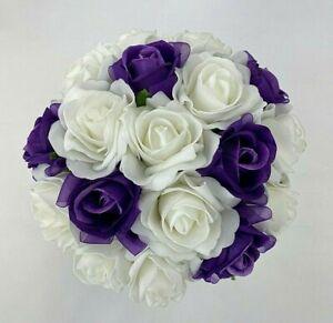Artificial Flower Purple Rose/ White Foam Roses Wedding Bouquet.