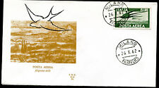 1962 - Lire 5 Posta Aerea  - Sassone A.155  - Busta F.D.C.