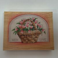 "Stamps Happen Rubber Stamp 80053 Basket Hearts With Love 4 3/8"" x 3 3/8"""