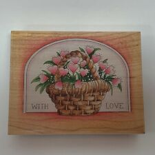 """Stamps Happen Rubber Stamp 80053 Basket Hearts With Love 4 3/8"""" x 3 3/8"""""""
