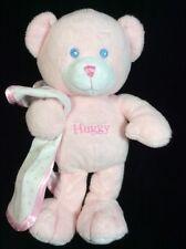 "Fiesta Pink Huggy Rattle Bear Plush Soft Toy 10"" Stuffed Teddy Blanket Polka Dot"