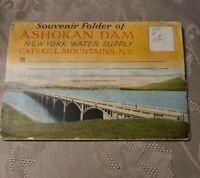 VINTAGE SOUVENIR FOLDER OF ASHOKAN DAM WATER SUPPLY CATSKILL MOUNTAINS NEW YORK