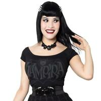 Kreepsville 666 Vampira Retro Bat Gothic Punk Dark Shoulder Top Shirt GSTVRBD