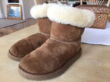 UGG Australia Kids Mini Ankle Boots Girls Sz 3 Tan Suede Leather Sheepskin Warm