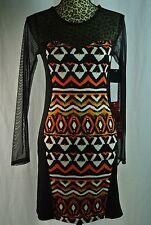NWT  Pinc Black Stretch Body Fitting  Dress Sz M Halloween Colors Mesh Sleeves