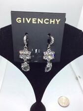 $59  GIVENCHY CRYSTAL DROP EARRING SILVER  TONE JJG4