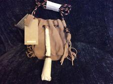 Zara Girls Accessories Leather W/ Fringe Soft Pink & Blue Strap Handbag NWT