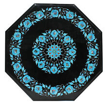 """18"""" Black Marble Side Table Top Turquoise Inlay Marquetry Home Decor Gifts H331"""