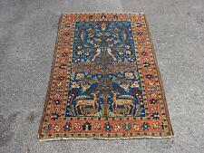 "2'9"" X 4'5"" Antique Persian Tree Of Life Tabriz Kashan Heriz Deer & Bird Motif"
