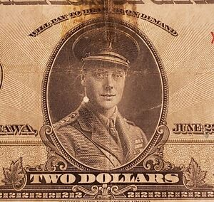 """1923 Dominion of Canada $2 Banknote. Black Seal. Group 4. Series """"X""""."""