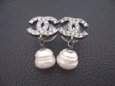 Auth Chanel Vntg SM Gun Metal CC Crystal w/ Pearl Dangling Pierce Earring(05A)