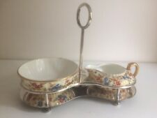 Antique Silver Plate & Wedgwood Porcelain Sugar Bowl and Cream Jug Stand
