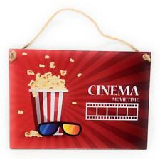 """CINEMA Movie Time Film Popcorn 3D Glasses 7"""" x 5"""" Colorful Home Decor Wall Sign"""
