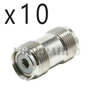 10 Pack - UHF SO-239 Female Coupler RF Adapter Barrel Connector for PL-259 Plugs