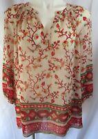 Old Navy Womens Medium Top Ivory Red Floral Print Sheer V-Neck L/S Peasant Boho