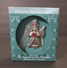 Gloria Duchin The Legend of the Poinsettia Pewter w/ Red Crystals Angel Ornament