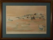 Claude Casati Original Signed & Limited Edition Litho, Coastal City w/ Boats COA