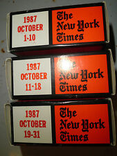 October 1987 New York Times on MICROFILM - 3 reels of film