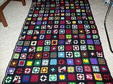 "Vintage Hand Crochet Granny Square Throw Blanket Afghan 39"" x 78"" Artistic"