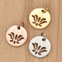 5pcs Plated Lotus Flower Charms Stainless Steel Pendant For DIY Necklace Jewelry
