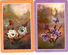 Set of two (2) Individual Swap/Playing Cards Butterflies and Flowers {NOT DECKS}