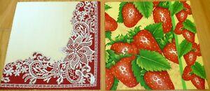 2 sets of paper napkins heart, lace, strawberry serviette,33cm-2pcs,decoupage