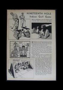 Indoor GOLF Game 19th Hole 1943 HowTo build PLANS Putting practice