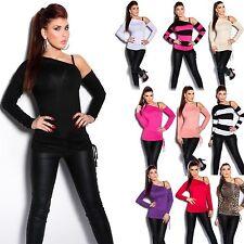 Hüftlange Langarm Damenblusen, - tops & -shirts ohne Kragen für die Freizeit