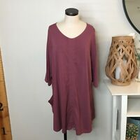 Bryn Walker Womens Josie Cinched Front Tunic Top XL Mauve Pink Bamboo Lagenlook