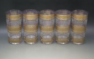 MID CENTURY CULVER GLASS MODERN SET OF 5 HIGHBALL GLASSES TUMBLERS