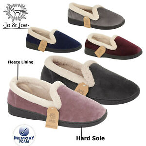 Ladies Slippers Womens Fleece Lining Collar Warm Winter Memory Foam Shoes Sizes