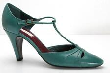 MARC JACOBS Womens Teal-Blue/Green Leather T-Strap High-Heel Pumps 8.5-38.5 NEW
